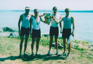 1999 Senior LM4x, from left to right: current Assistant Coach Mike Naughton, current Assistant Coach Chris McElroy, Mike Beardsley, current Club President Tom Sullivan
