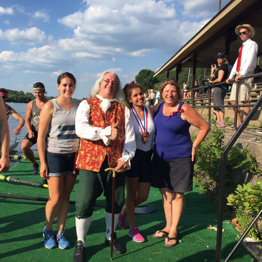 Maria Perry with Ben Franklin, Coach Farrell and Coach Hud celebrating her medal for winning Girl's Novice Single at Philadelphia Youth Regatta 7/25/2015